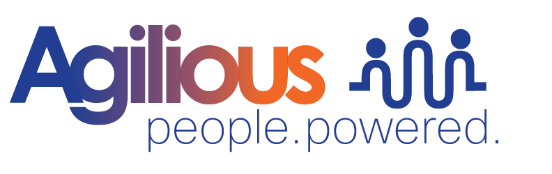 Agilious logo | people. powered. | A truly humanistic approach to developing a company symbol. The blend from blue to red symbolizes the transformation when teams transform successfully. The Agilious logo strategy was to redesign a mark that reflects the Agile approach to project management was the close-knit groups structure and synergies inherent in the development process. We wanted to portray a humanistic approach to developing a company symbol to reflect the training goals of Agilious.   The company's core competency of helping companies transform themselves. Hence, the logo with a blend of color, with the tagline of people. powered.