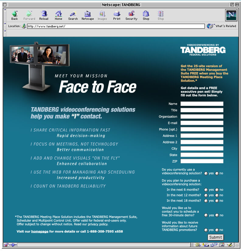 Tandberg video conference ad