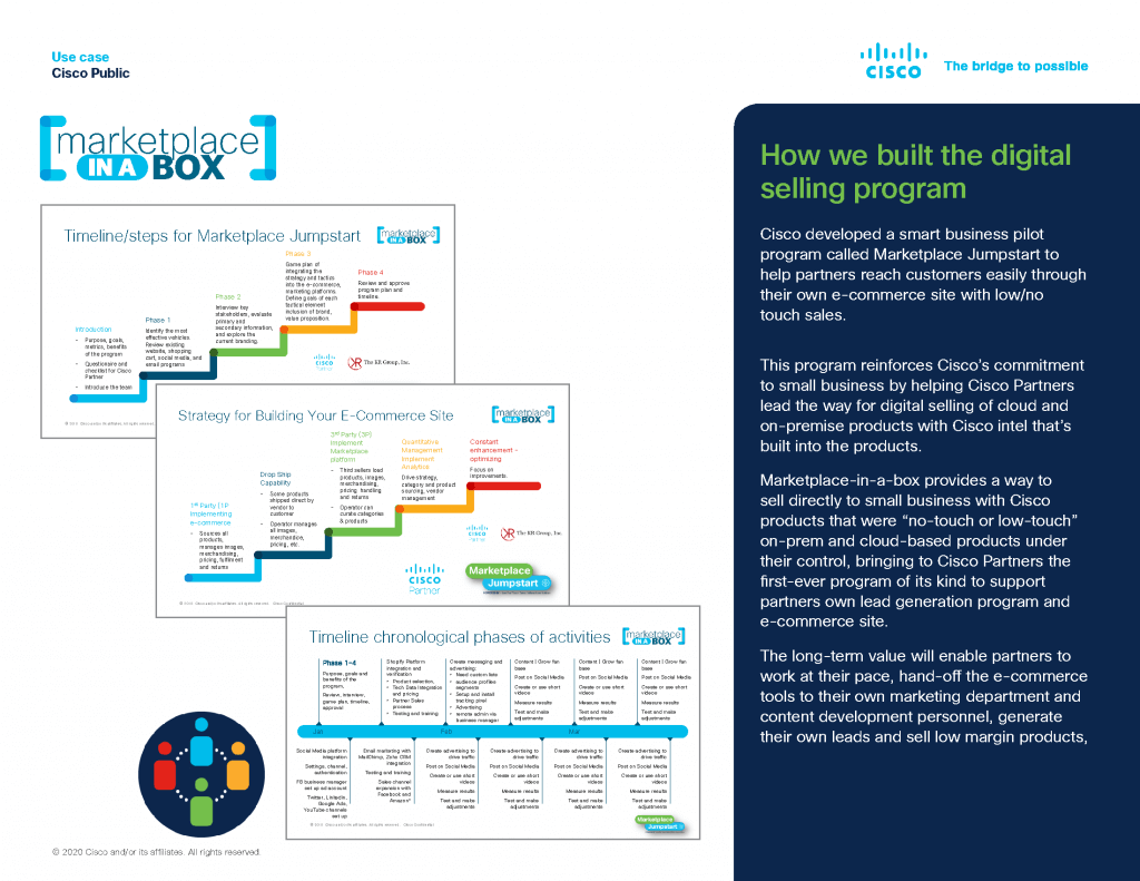 """Marketplace-in-a-box provides a way to sell directly to small business with Cisco products that were """"no-touch or low-touch"""" on-prem and cloud-based products under their control"""